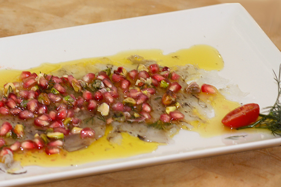 Carpaccio of prawns with pomegranate