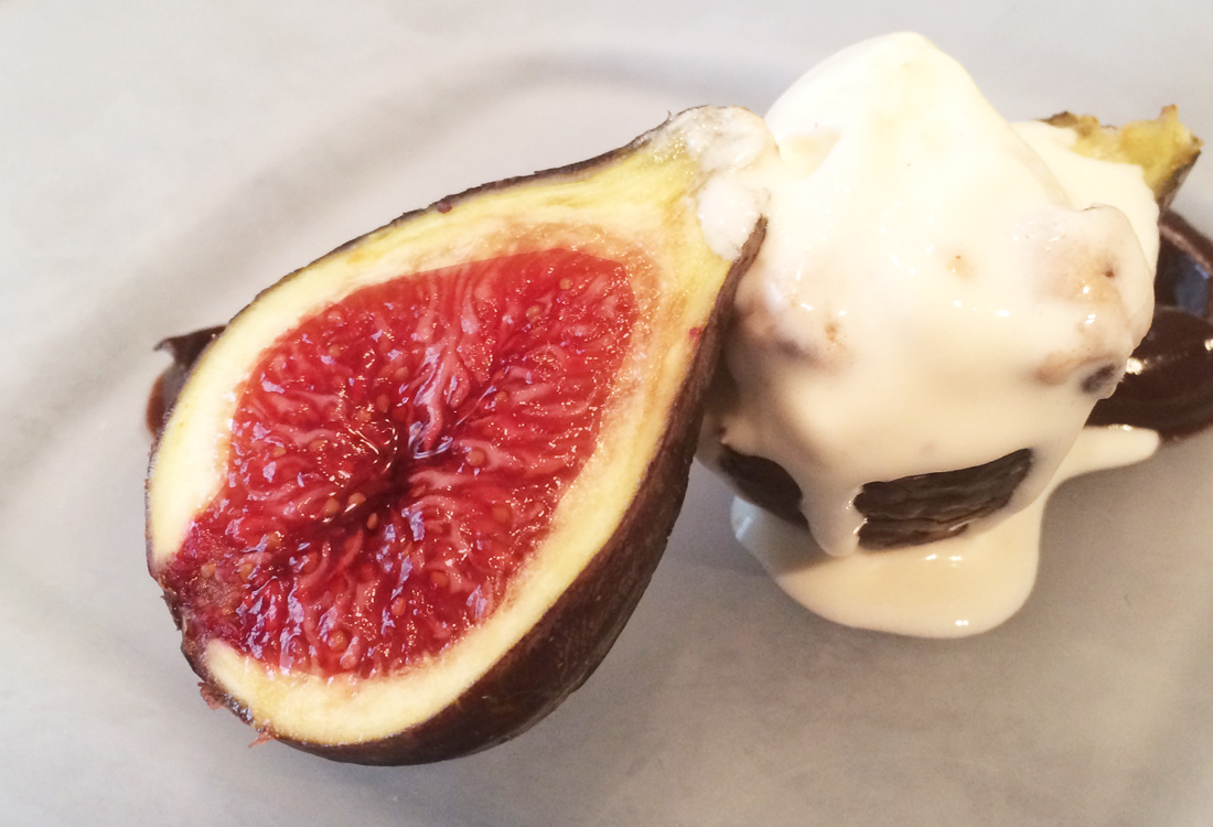 Figs with wine and macadamia nut ice cream